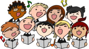 Cartoon of chorus members singing together from music