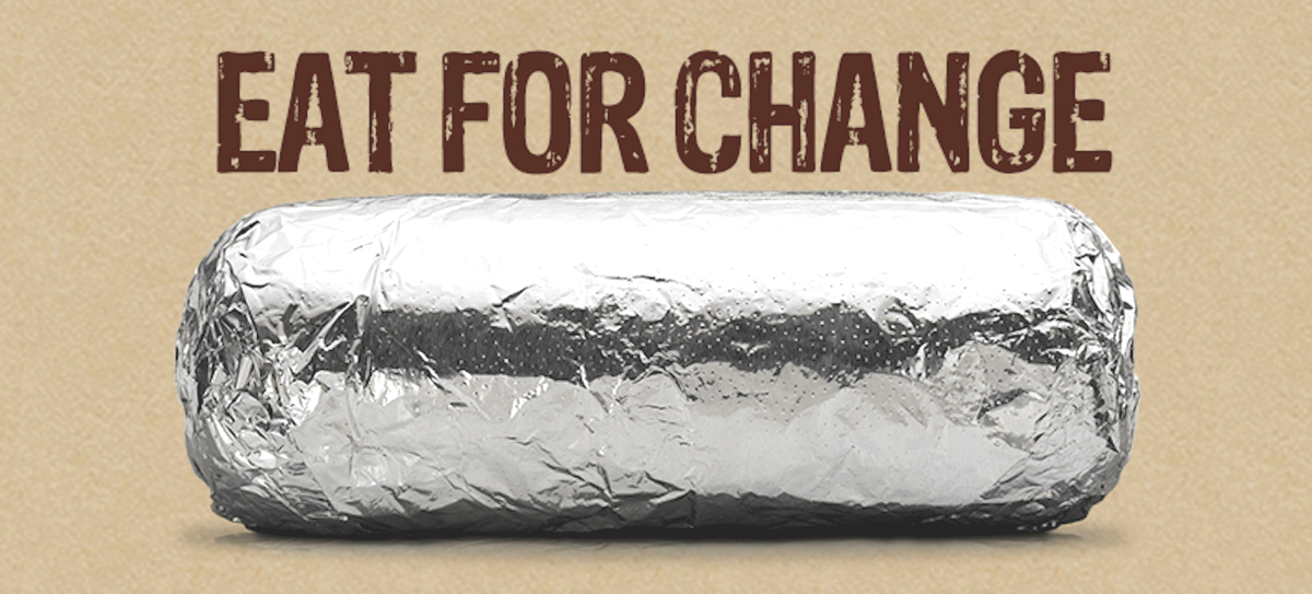 chipotle burrito eat for change