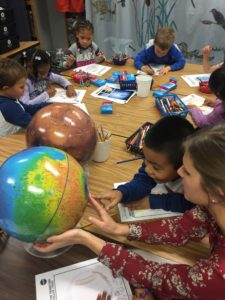 Kindergarteners doing space research