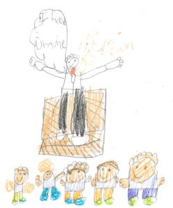 """Student drawing of MLK saying """"I have a dream"""" with a crowd listening to him."""